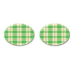 Abstract Green Plaid Cufflinks (oval) by BangZart