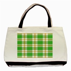 Abstract Green Plaid Basic Tote Bag by BangZart