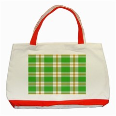 Abstract Green Plaid Classic Tote Bag (red) by BangZart