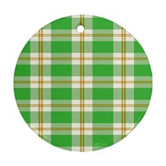 Abstract Green Plaid Round Ornament (two Sides) by BangZart