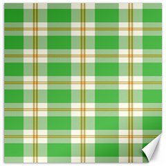 Abstract Green Plaid Canvas 16  X 16   by BangZart