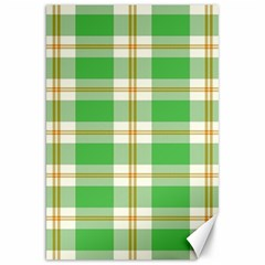Abstract Green Plaid Canvas 20  X 30