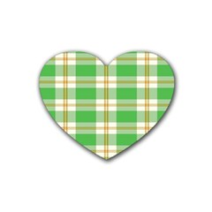 Abstract Green Plaid Rubber Coaster (heart)  by BangZart