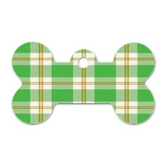Abstract Green Plaid Dog Tag Bone (two Sides) by BangZart
