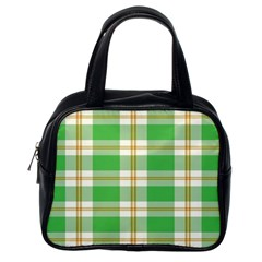 Abstract Green Plaid Classic Handbags (one Side) by BangZart