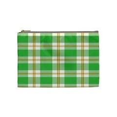 Abstract Green Plaid Cosmetic Bag (medium)  by BangZart