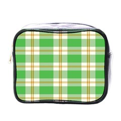 Abstract Green Plaid Mini Toiletries Bags by BangZart
