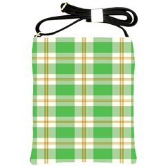 Abstract Green Plaid Shoulder Sling Bags