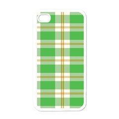 Abstract Green Plaid Apple Iphone 4 Case (white) by BangZart