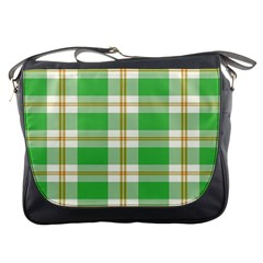 Abstract Green Plaid Messenger Bags by BangZart