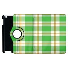 Abstract Green Plaid Apple Ipad 2 Flip 360 Case by BangZart