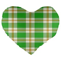 Abstract Green Plaid Large 19  Premium Heart Shape Cushions by BangZart