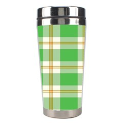 Abstract Green Plaid Stainless Steel Travel Tumblers by BangZart