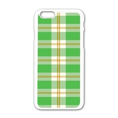Abstract Green Plaid Apple Iphone 6/6s White Enamel Case by BangZart