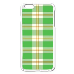Abstract Green Plaid Apple Iphone 6 Plus/6s Plus Enamel White Case by BangZart