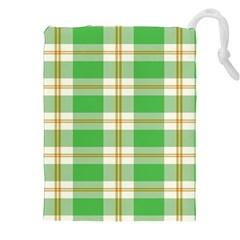 Abstract Green Plaid Drawstring Pouches (xxl) by BangZart