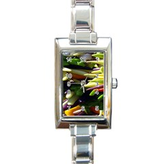 Bright Peppers Rectangle Italian Charm Watch