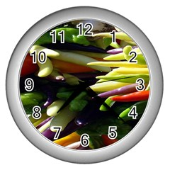 Bright Peppers Wall Clocks (silver)  by BangZart