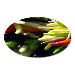 Bright Peppers Oval Magnet by BangZart