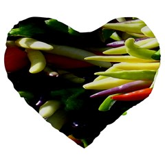 Bright Peppers Large 19  Premium Heart Shape Cushions by BangZart