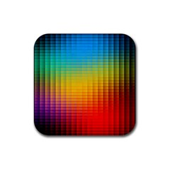 Blurred Color Pixels Rubber Coaster (square)  by BangZart