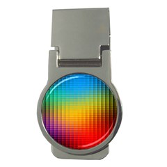 Blurred Color Pixels Money Clips (round)  by BangZart