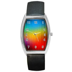 Blurred Color Pixels Barrel Style Metal Watch