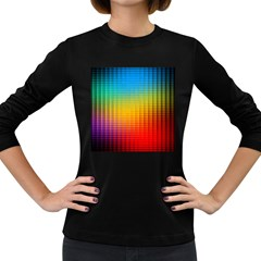 Blurred Color Pixels Women s Long Sleeve Dark T Shirts by BangZart