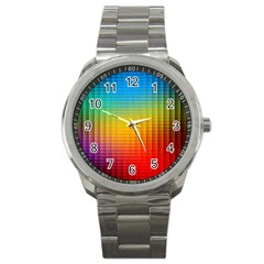 Blurred Color Pixels Sport Metal Watch by BangZart