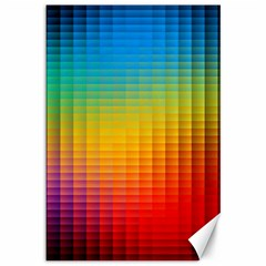Blurred Color Pixels Canvas 12  X 18   by BangZart