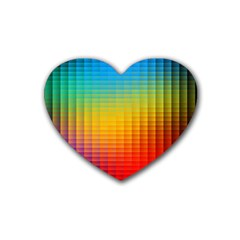 Blurred Color Pixels Rubber Coaster (heart)  by BangZart