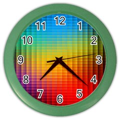 Blurred Color Pixels Color Wall Clocks by BangZart