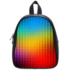 Blurred Color Pixels School Bags (small)  by BangZart