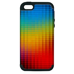 Blurred Color Pixels Apple Iphone 5 Hardshell Case (pc+silicone)