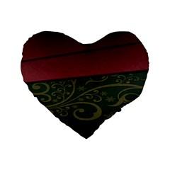 Beautiful Floral Textured Standard 16  Premium Heart Shape Cushions by BangZart