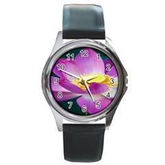 Pink Lotus Flower Round Metal Watch