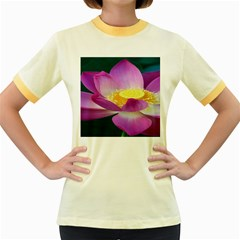 Pink Lotus Flower Women s Fitted Ringer T Shirts