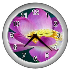 Pink Lotus Flower Wall Clocks (silver)  by BangZart