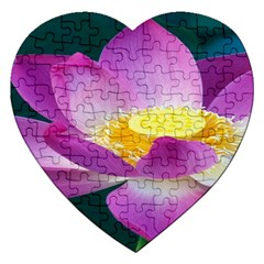 Pink Lotus Flower Jigsaw Puzzle (heart) by BangZart