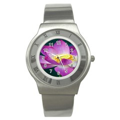 Pink Lotus Flower Stainless Steel Watch by BangZart