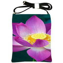 Pink Lotus Flower Shoulder Sling Bags by BangZart