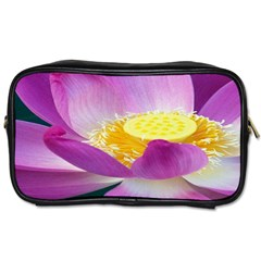 Pink Lotus Flower Toiletries Bags 2 Side by BangZart