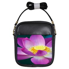 Pink Lotus Flower Girls Sling Bags by BangZart