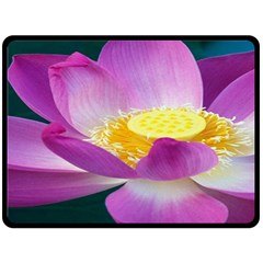 Pink Lotus Flower Double Sided Fleece Blanket (large)  by BangZart