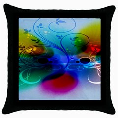 Abstract Color Plants Throw Pillow Case (black)