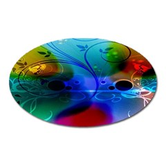 Abstract Color Plants Oval Magnet by BangZart