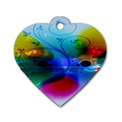 Abstract Color Plants Dog Tag Heart (Two Sides) by BangZart