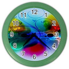 Abstract Color Plants Color Wall Clocks by BangZart