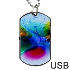Abstract Color Plants Dog Tag Usb Flash (two Sides) by BangZart