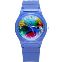 Abstract Color Plants Round Plastic Sport Watch (s) by BangZart